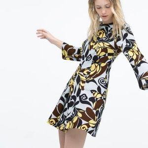 Zara Long Sleeve Blue Brown Yellow Dress Small